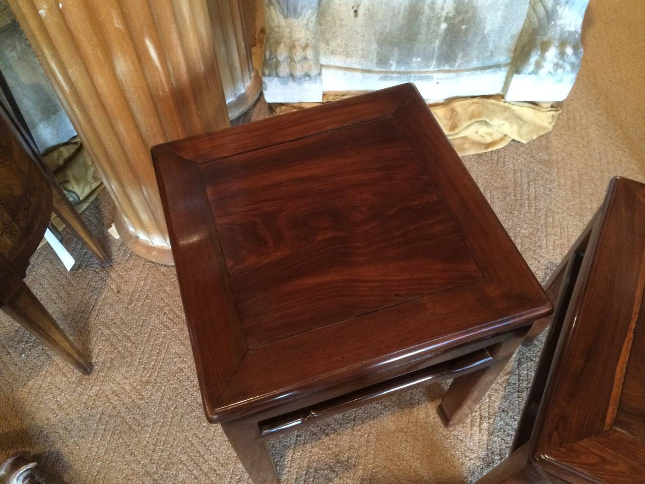 Pair of Chinese Hard Wood Side Tables 6