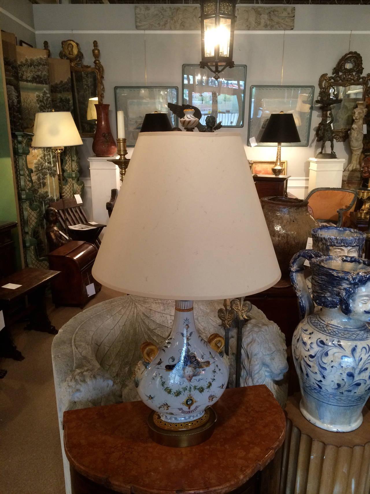 19th Century Pair of Italian Majolica Glazed Ceramic Ginori Lamps For Sale