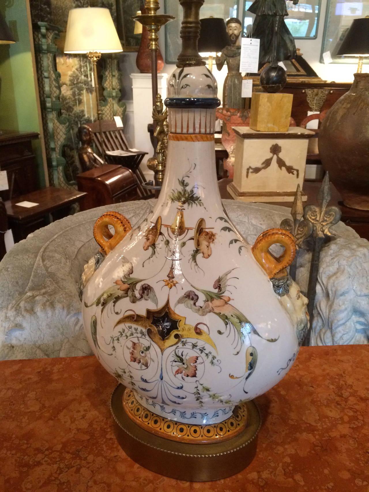 Pair of Italian Majolica Glazed Ceramic Ginori Lamps For Sale 2