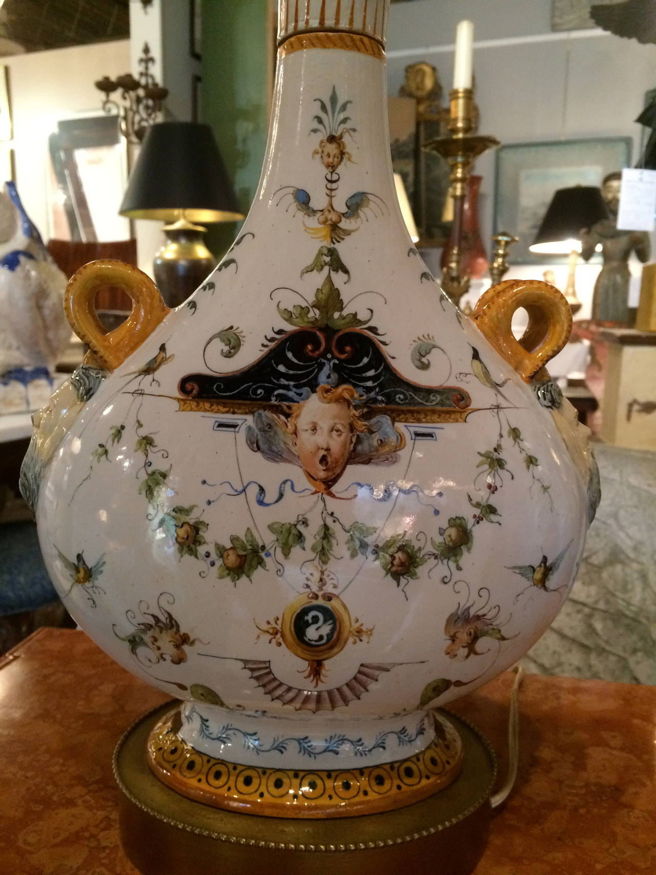 Pair of Italian Majolica Glazed Ceramic Ginori Lamps In Good Condition For Sale In Stamford, CT