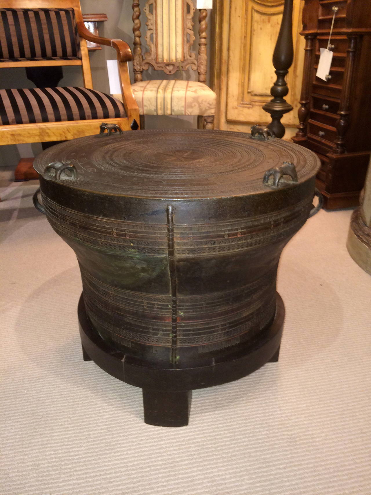 Bronze Rain Drum Side Table In Excellent Condition For Sale In Stamford, CT