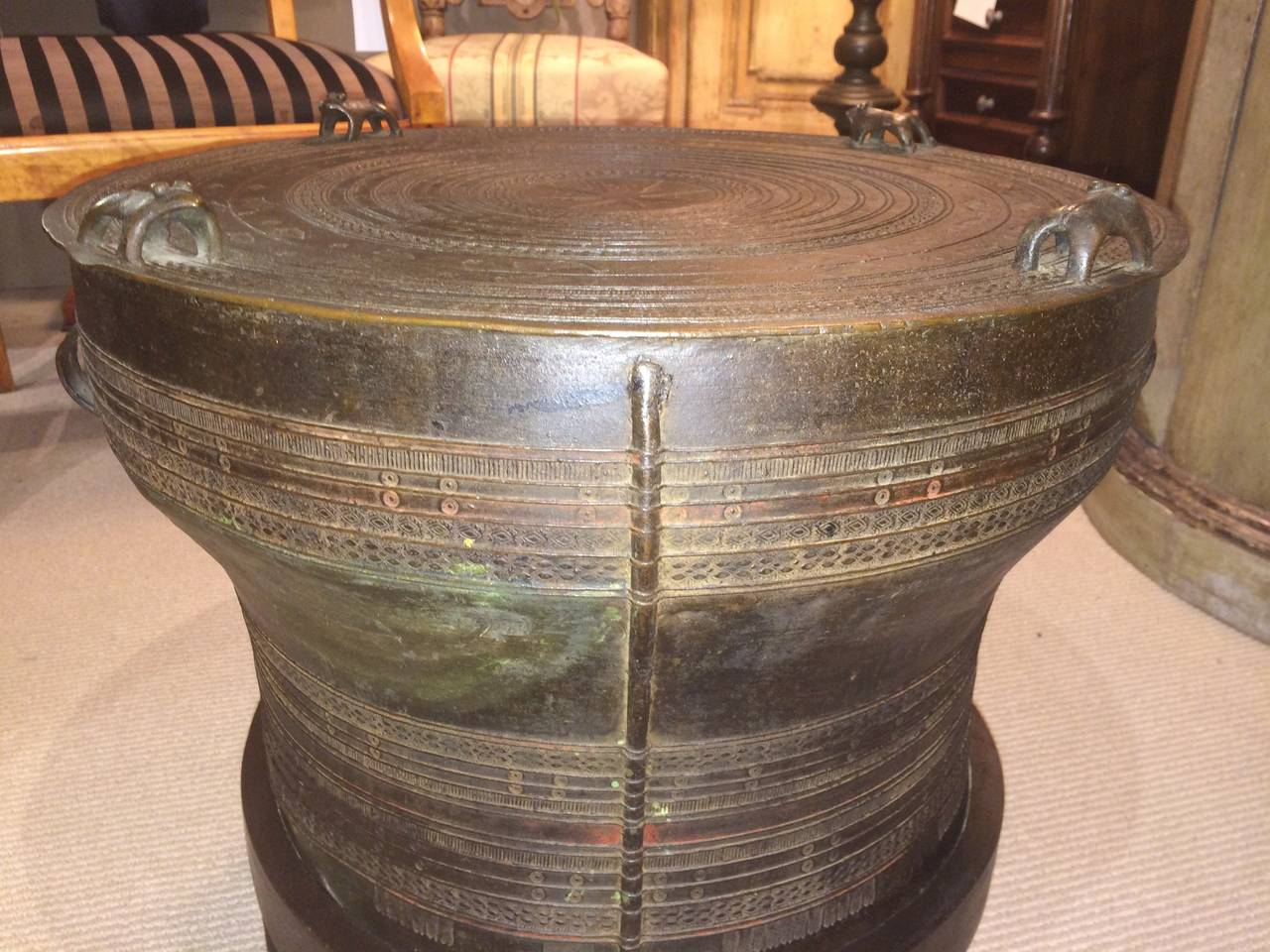 20th Century Bronze Rain Drum Side Table For Sale