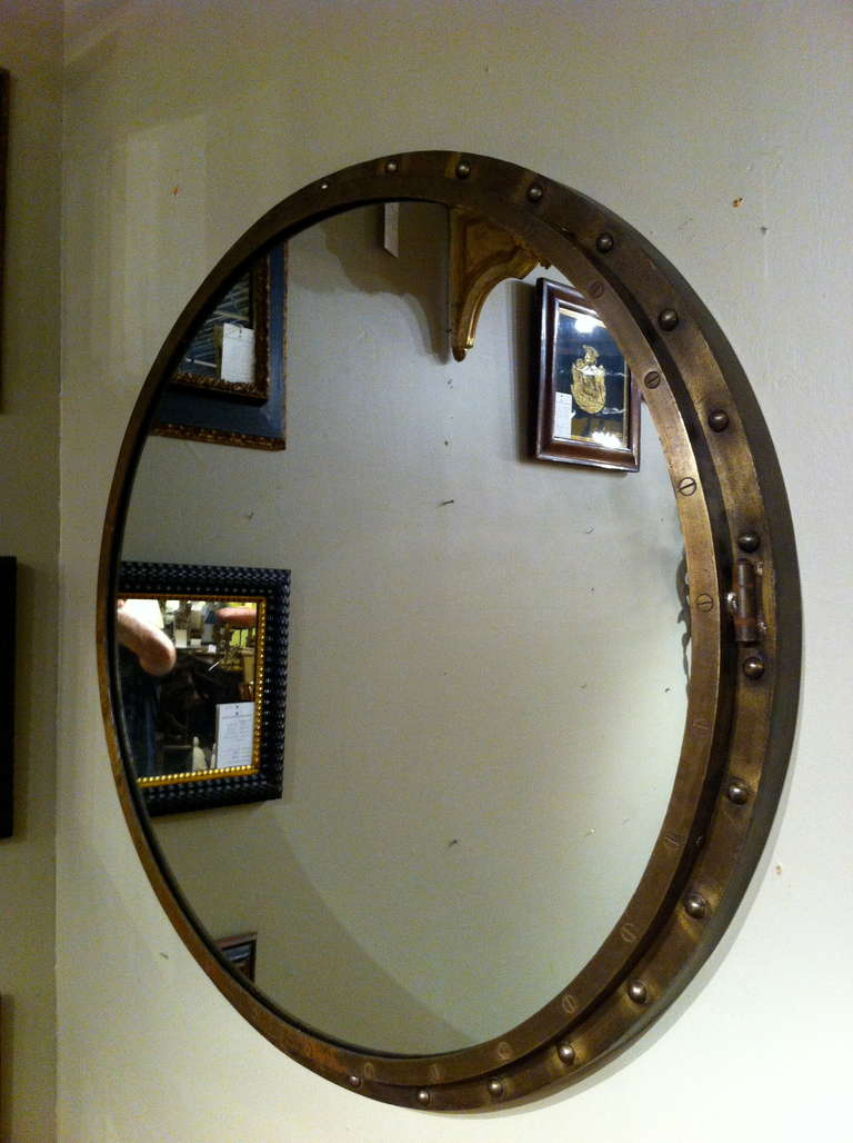 round industrial steel mirror at 1stdibs. Black Bedroom Furniture Sets. Home Design Ideas