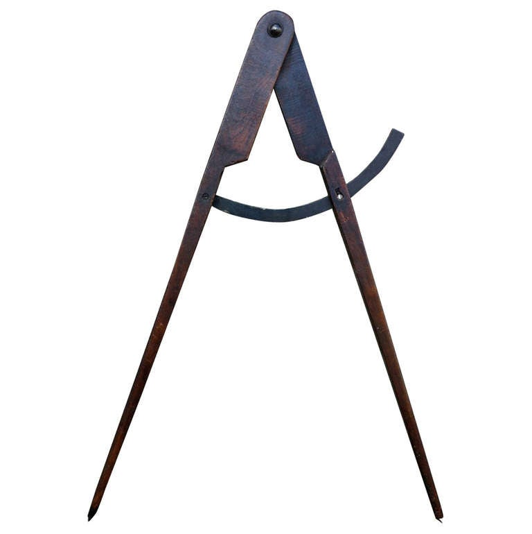 American Folk Art Wood and Iron Compass trade Sign, Large-Scale