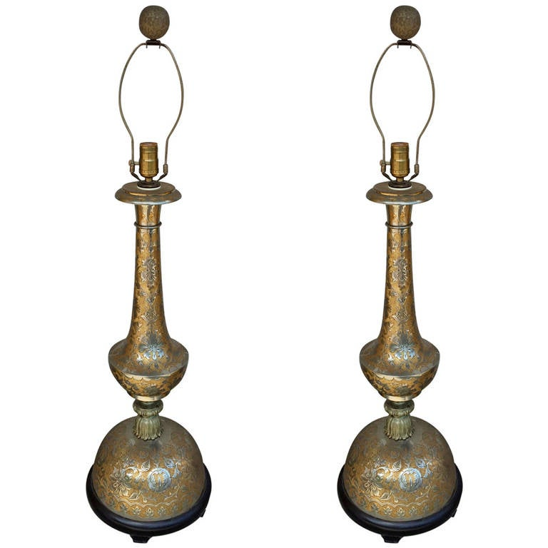 Pair of anglo indian large scale table lamps for sale at for Brass floor lamp india