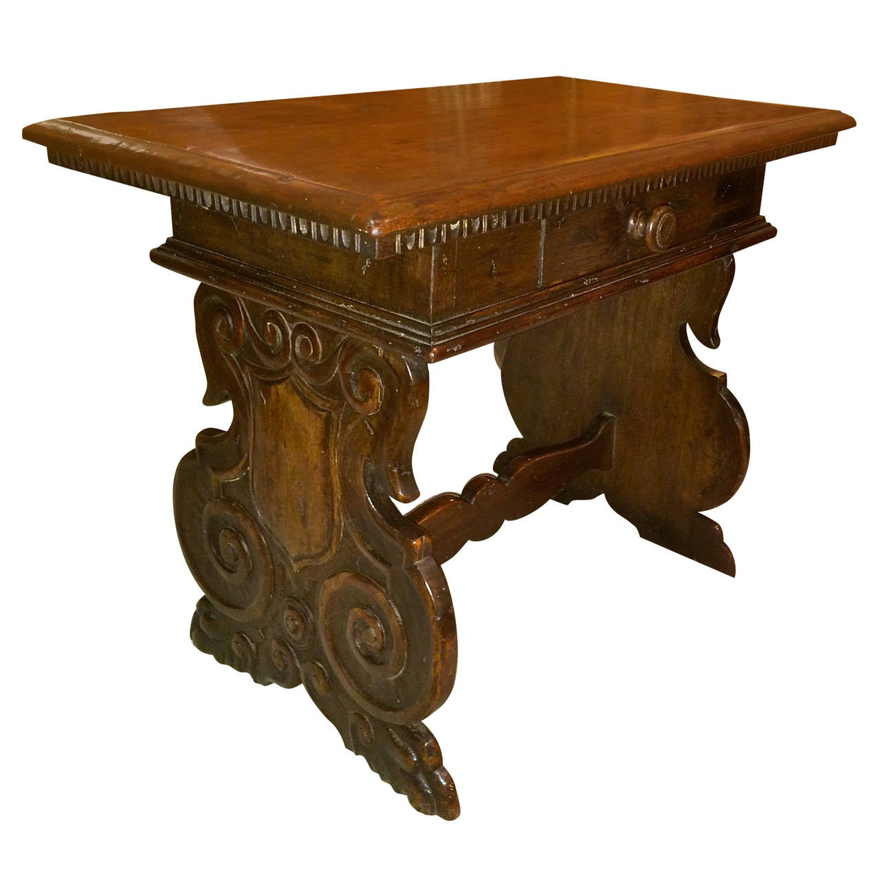 Italian Baroque Walnut Side Table For Sale