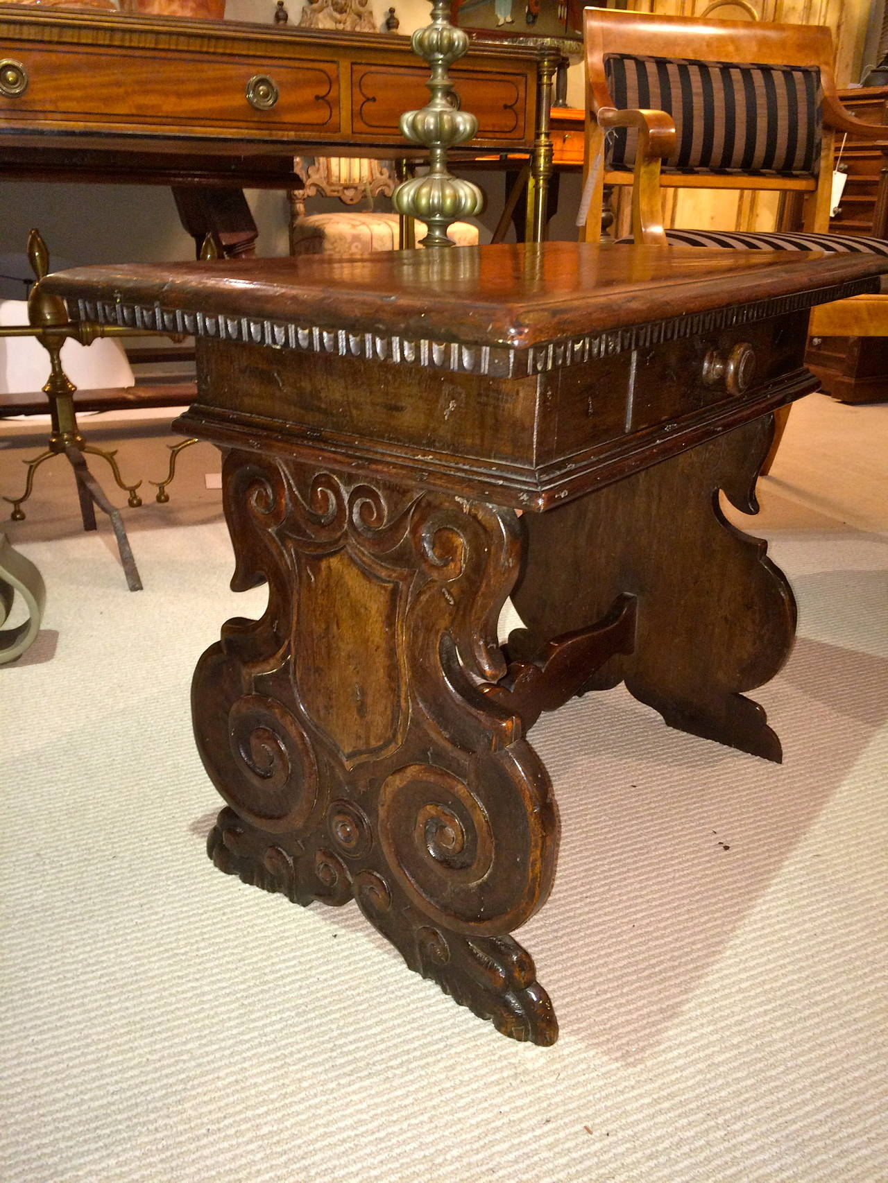 19th Century Italian Baroque Walnut Side Table For Sale