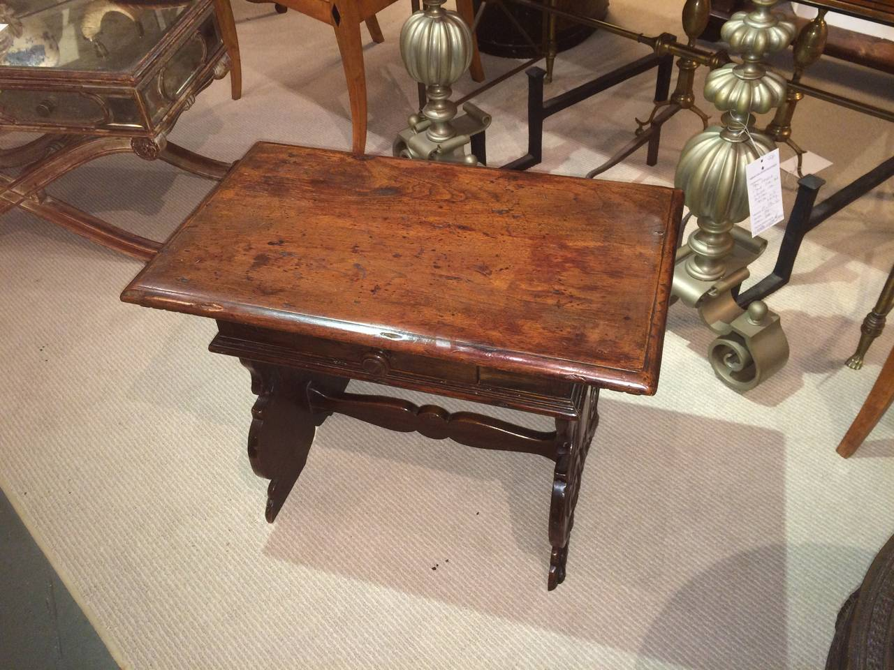 Italian Baroque Walnut Side Table For Sale 2