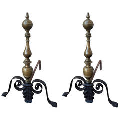Pair of Italian Baroque Iron and Bronze Andirons