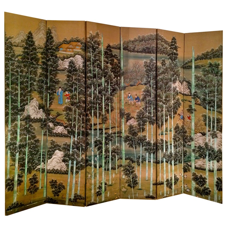 Large Chinese Painted Screen With Bamboo Forest