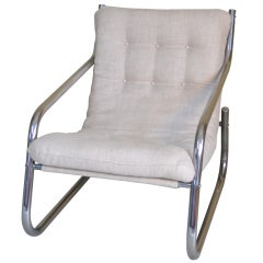 Lounge Chair with Chrome Tube Frame