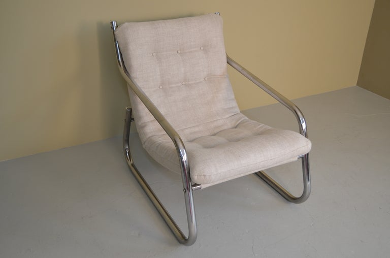 Lounge Chair with Chrome Tube Frame 3
