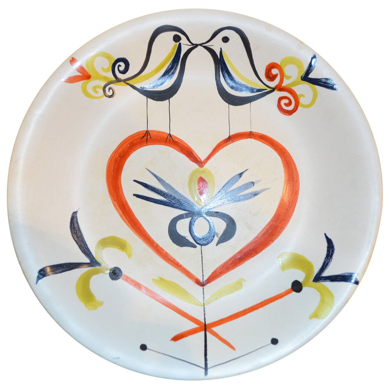 Decorative Ceramic Plate by Roger Capron For Sale