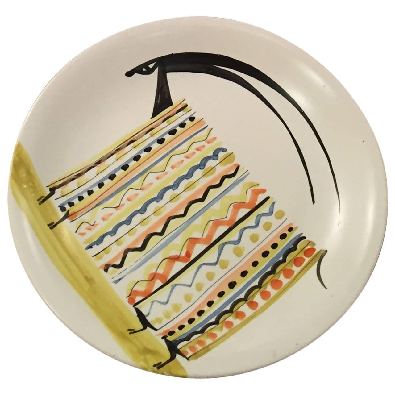 Decorative Ceramic Plate by Roger Capron 1