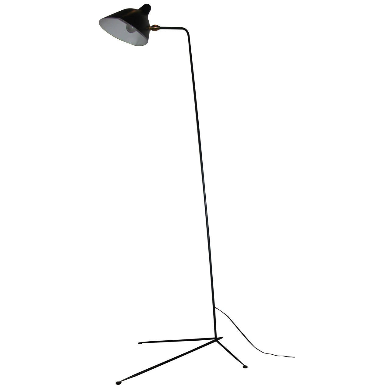 One Arm Standing Lamp By Serge Mouille At 1stdibs: serge mouille three arm floor lamp