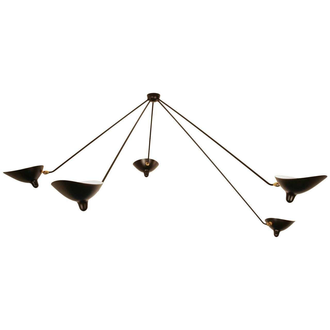 Serge Mouille Spider Ceiling Lamp with Five Arms For Sale - Serge Mouille Spider Ceiling Lamp With Five Arms For Sale At 1stdibs