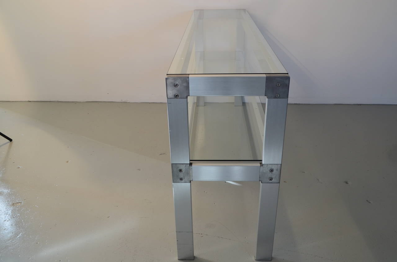 20th Century Two-Tier Metal and Glass Console For Sale