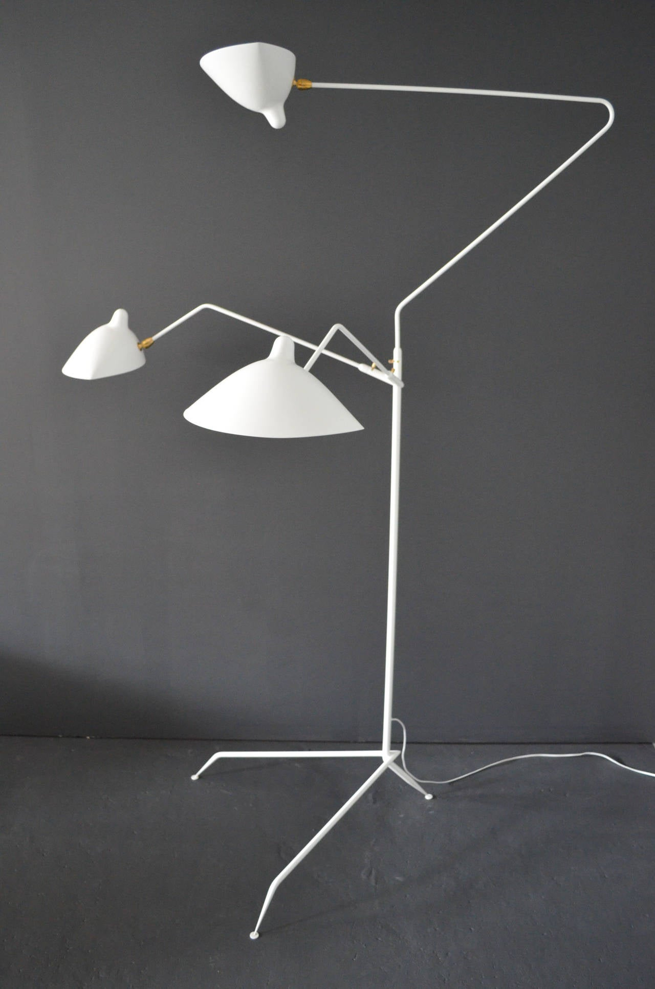 Standing lamp with three arms by serge mouille at 1stdibs Serge mouille three arm floor lamp