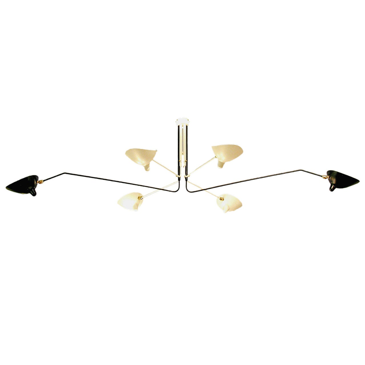Ceiling Lamp with Six Rotating Arms in White, by Serge Mouille