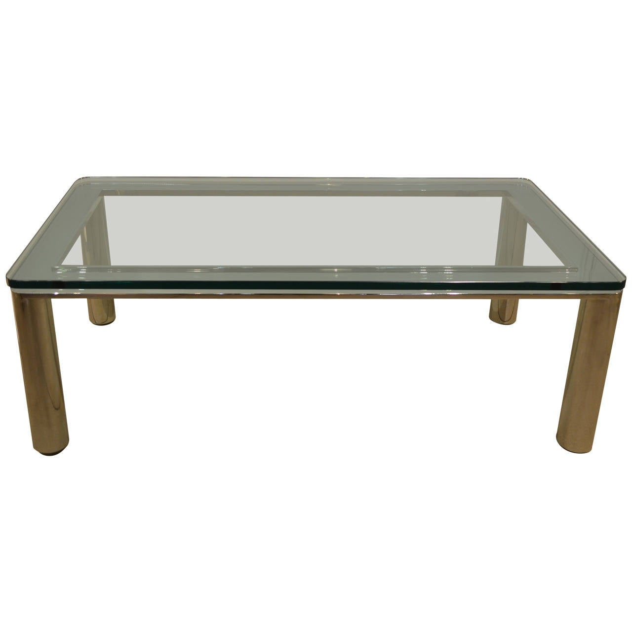 Glass coffee table with chrome base for sale at 1stdibs Glass coffee table base