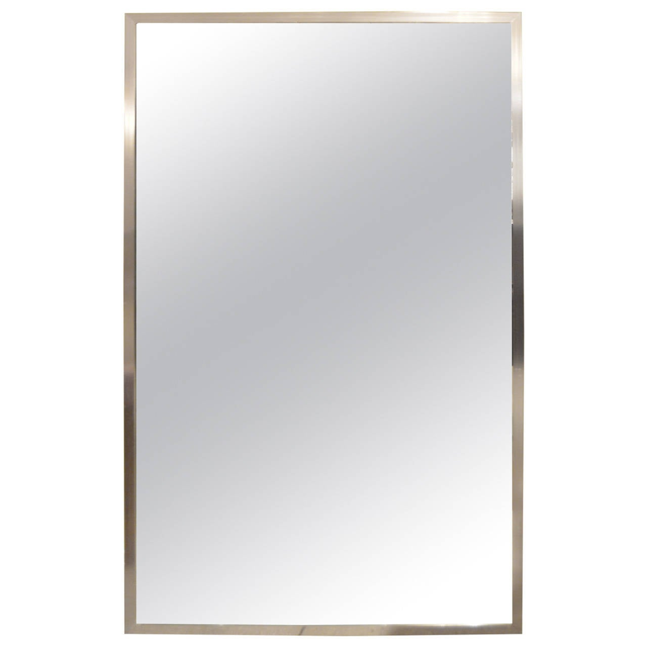 Brushed metal frame mirror at 1stdibs for Metal frame mirror