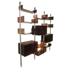 Danish wall system in birch and teak by william watting at for Armoire roche bobois