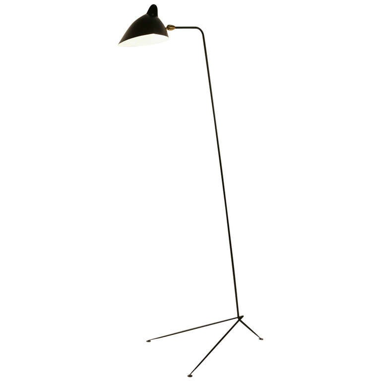 Standing lamp with one arm by serge mouille at 1stdibs Serge mouille three arm floor lamp