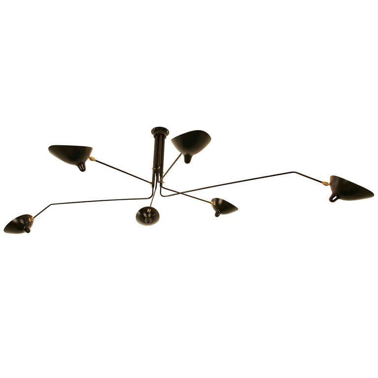 Ceiling lamp with six rotating arms by serge mouille at Serge mouille three arm floor lamp