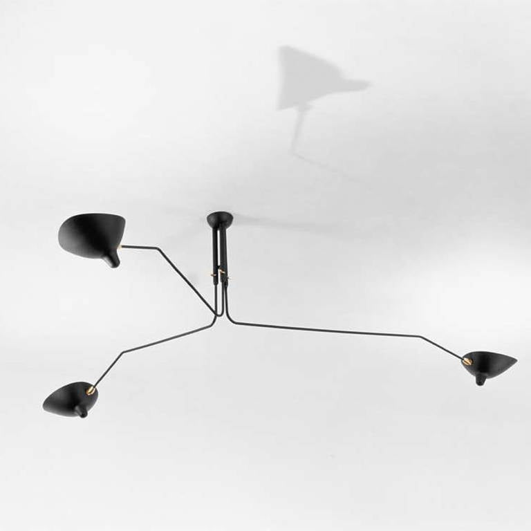 Ceiling lamp with three rotating arms by serge mouille at Serge mouille three arm floor lamp