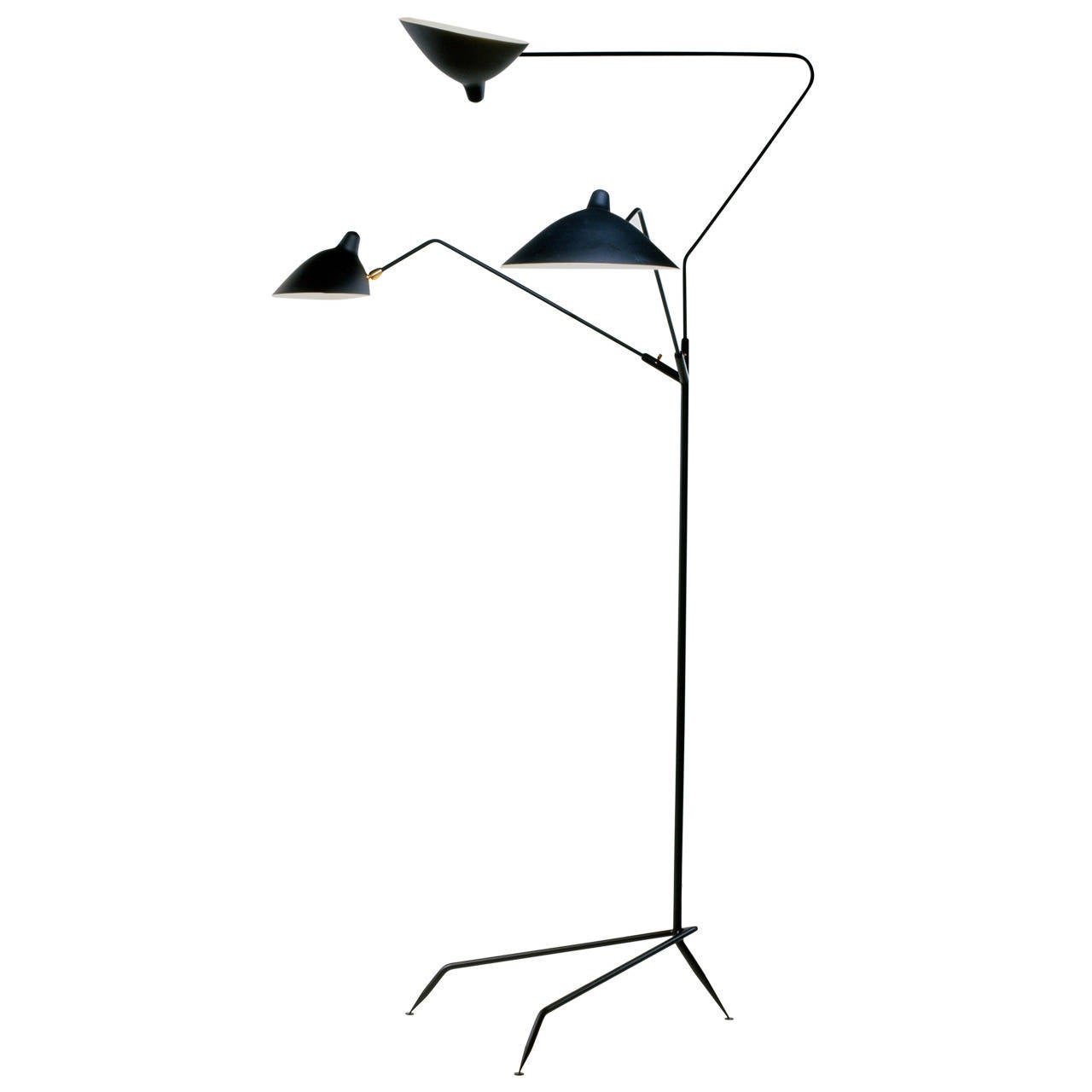 Standing lamp three arms by serge mouille at 1stdibs Serge mouille three arm floor lamp