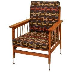 Armchair in Oak and Brass