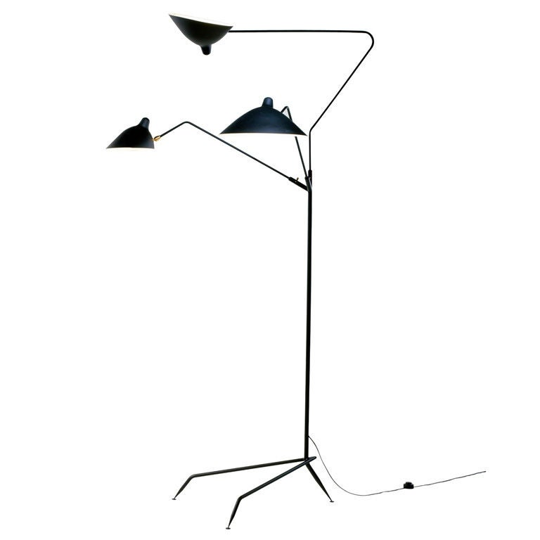 Standing Lamp with 3 Arms by Serge Mouille For Sale