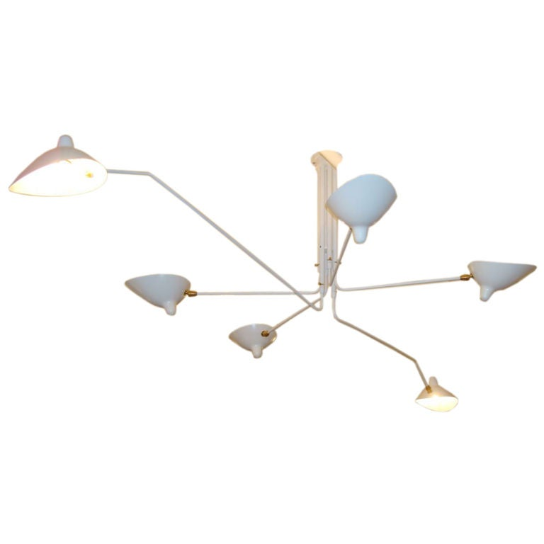 White Serge Mouille Ceiling Lamp: Serge Mouille Ceiling Lamp With 6 Rotating Arms, White At