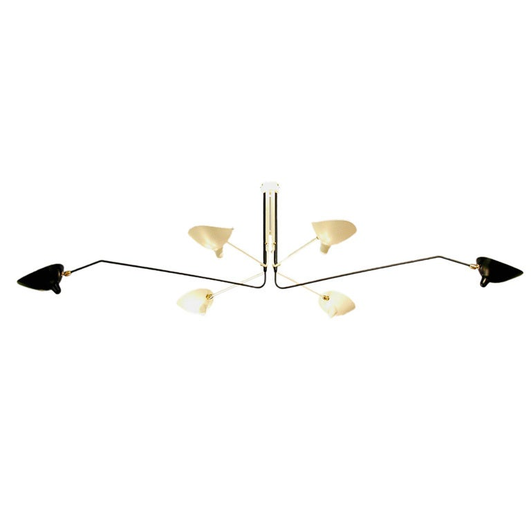 Ceiling Lamp w/ 6 Rotating Arms, Black & White, by Serge Mouille For Sale