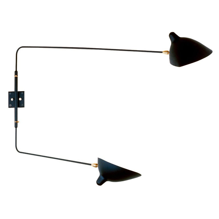Wall Sconce with Two Straight Rotating Arms by Serge Mouille at 1stdibs