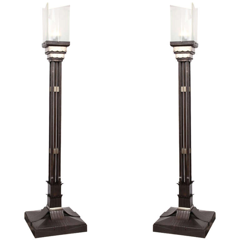 Pair of Monumental, 1920s, Art Deco Torcheres For Sale
