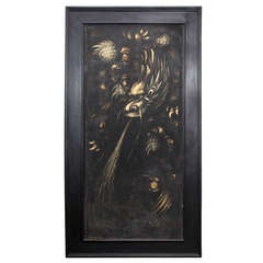 Large 1920s Framed Painting on Wood by Robert Winthrop Chanler