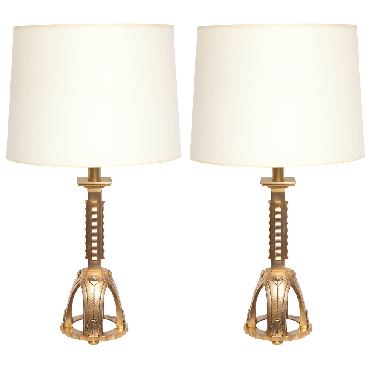 Pair of 1930s French Art Deco Gilt Bronze Table Lamps