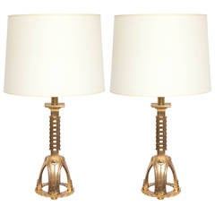 Table Lamps Pair Art Deco Bronze  France 1930's