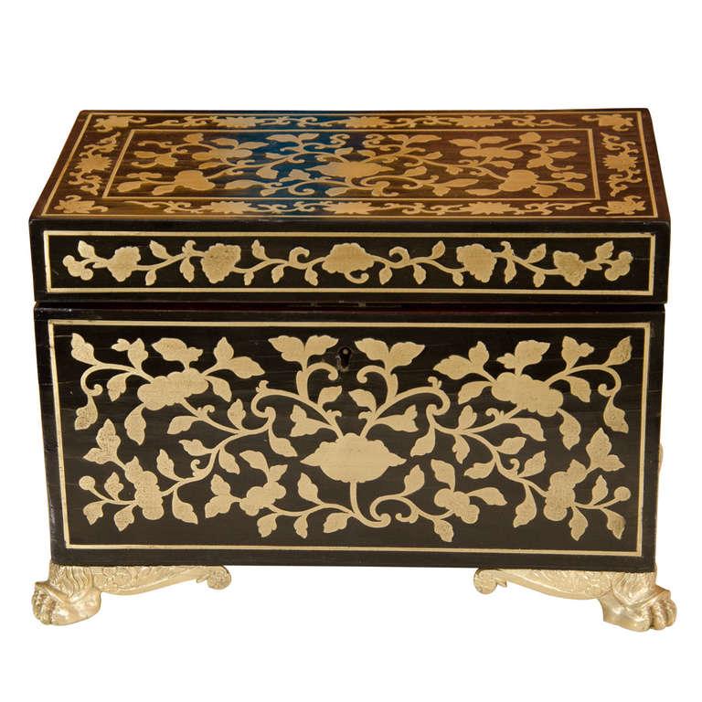 Fine Regency Brass Inlaid Tea Caddy For Sale