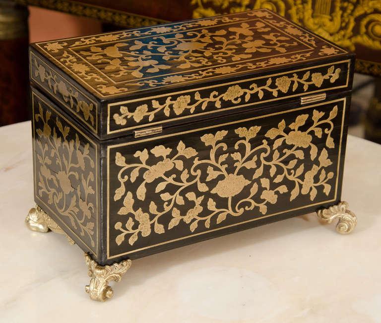 Fine Regency Brass Inlaid Tea Caddy For Sale 1