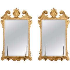 Pair of George II Scroll Top Mirrors