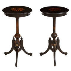 Pair of Small Round French Napoleon III Ebonized Side Tables w Marquetry, c 1870