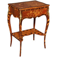 George III Marquetry Work Table in the Manner of Pierrre Langlois