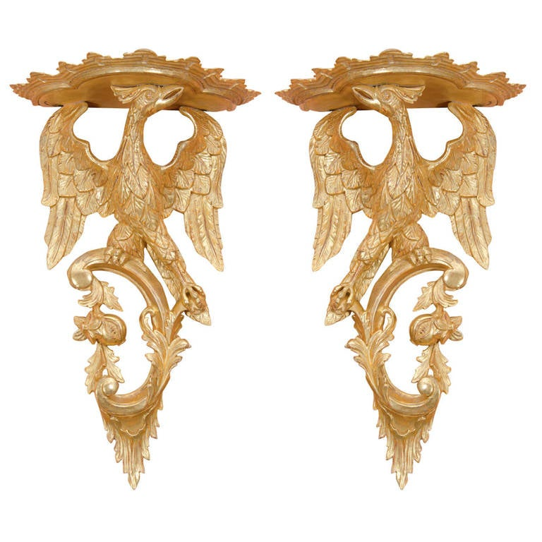 Pair of Rococo Giltwood Phoenix Brackets For Sale