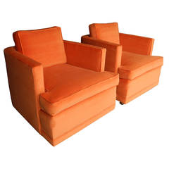 Mid-Century Modern Orange Velvet Lounge Chairs by Milo Baughman, 1960s