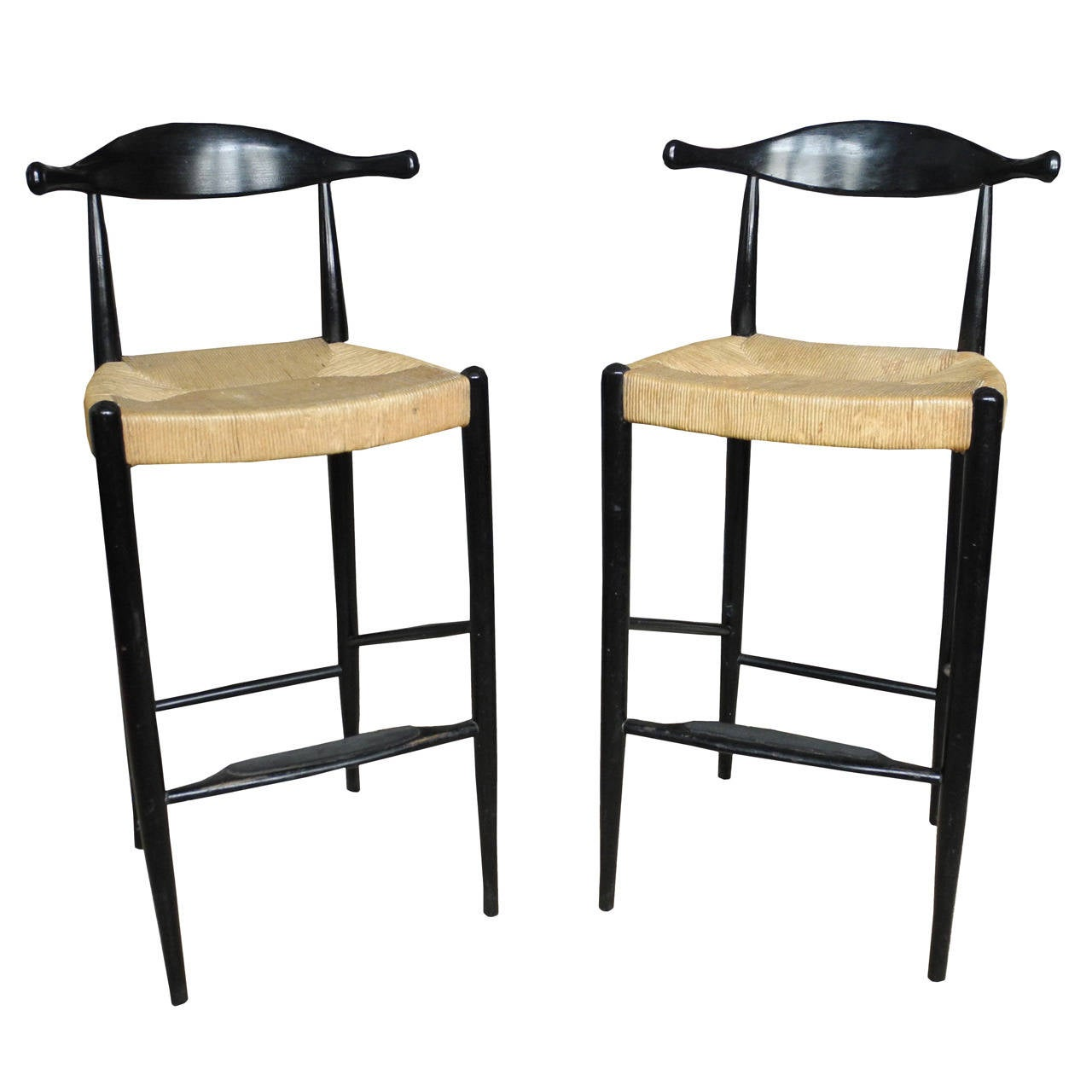 Mid century ox bow tall bar stools in the style of hans wegner for sale