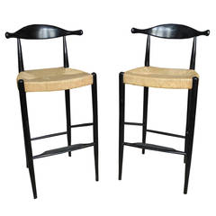Mid-Century Ox Bow Tall Bar Stools in the Style of Hans Wegner