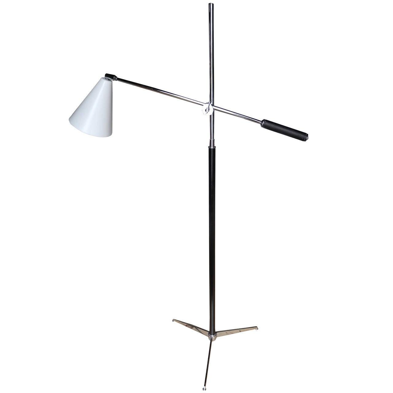 Modern Italian One-Arm Tripod Floor Lamp for Arteluce in the Style of Sarfatti For Sale