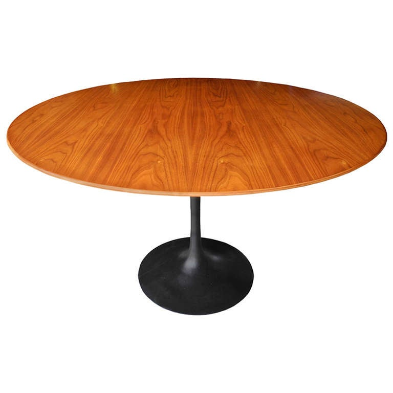 Modern Walnut And Cast Iron Round Tulip Dining Table By Eero Saarinen